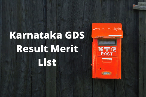 Karnataka GDS Result 2020 Merit List