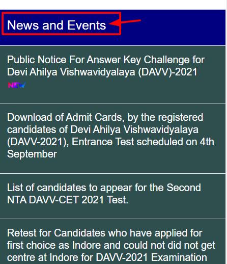 DAVV News and Events
